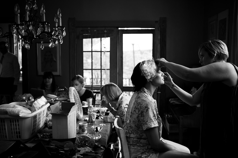 Bride having her make-up done.