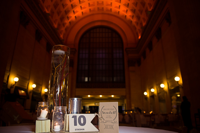 Table decorations, event sponsors of 2015 Snowball Fundraiser at the Union Station
