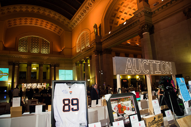 Auctioned items at 2015 Snowball Fundraiser at the Union Station, Chicago.