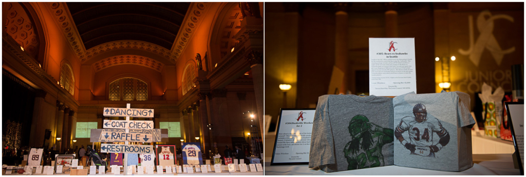 Overview and detail shots of 2015 Snowball Fundraiser event at Union Station, Chicago.