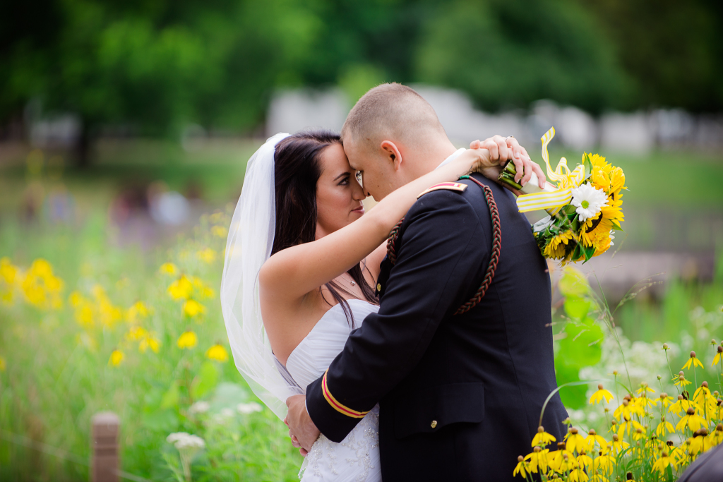 Wedding portrait with flowers.