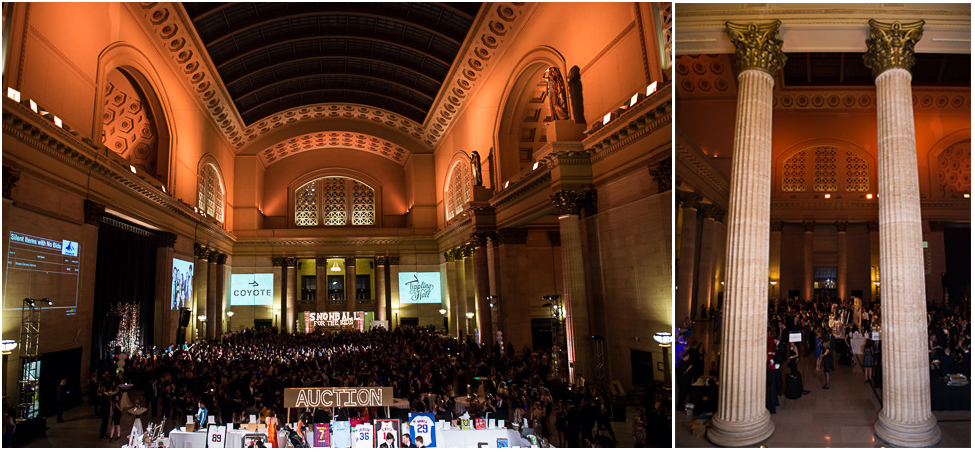 Overview of Union Station's Great Hall hosting a fundraiser.
