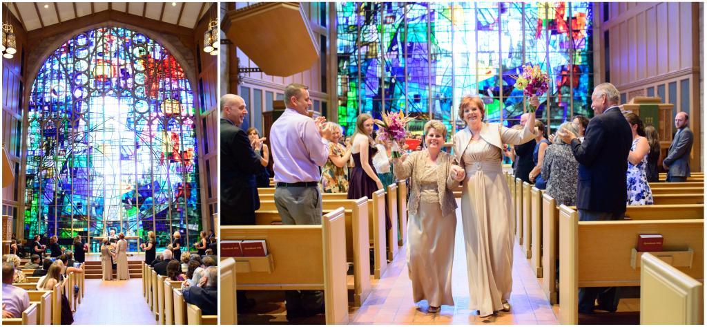 Beautiful brides inside Alice Millar Chapel, Evanston, IL.