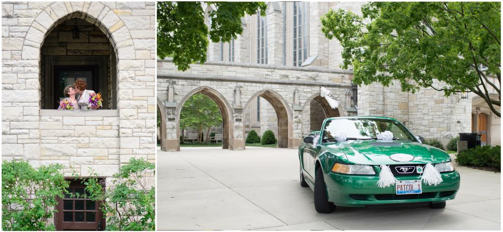 Pictures of brides and Mustang outside of the chapel.