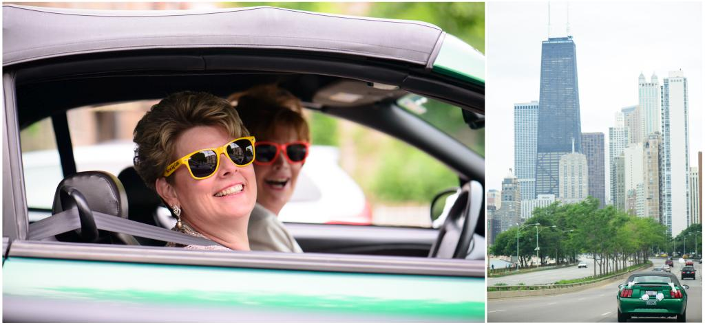 LGBT wedding in Evanston and Chicago. Brides in a car.
