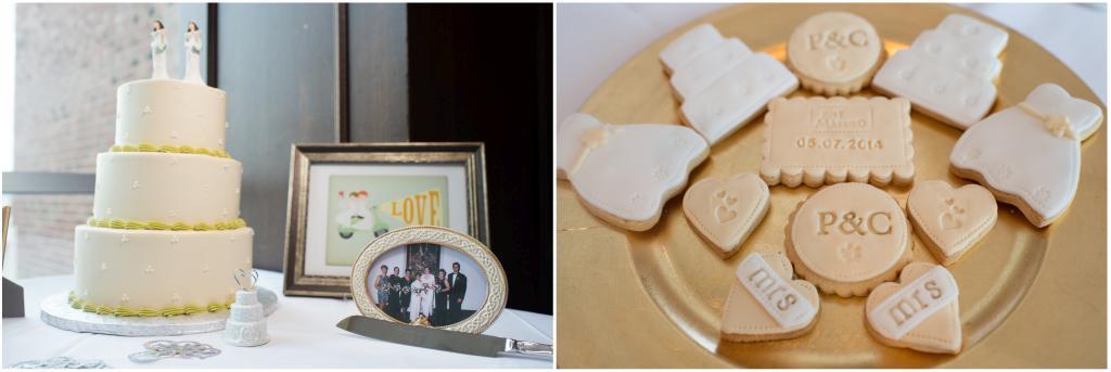 Wedding cake and cookies detail shot.