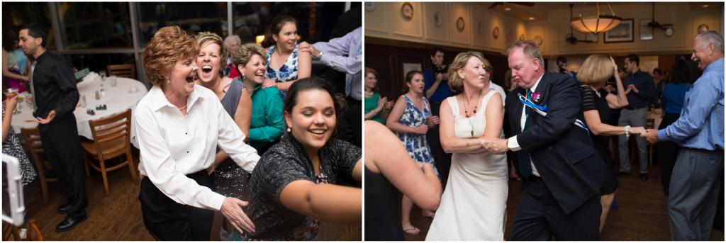 Picture of guests dancing and having fun at a wedding.
