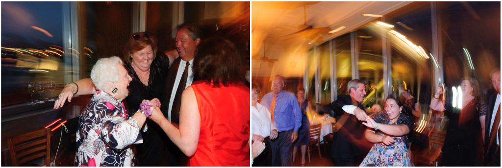 Motion blurred images of dancing guests.
