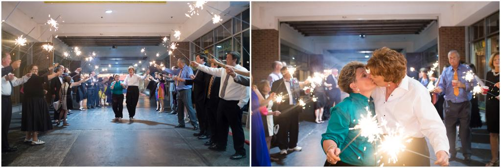 Pictures of the brides kissing, surrounded by sparklers.