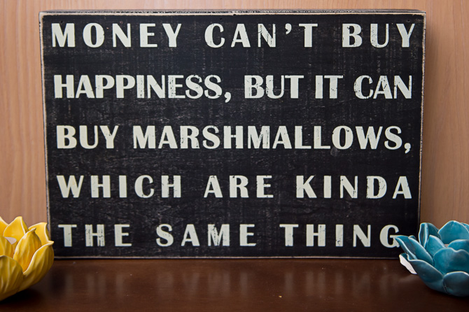 Money can't buy happiness but marshmallows are happiness..