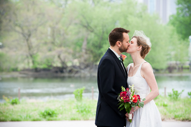Bride and groom kiss - Lincoln Park wedding session.